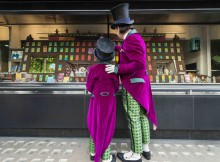 Willy Wonka and Charlie at Waterstones