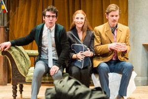 Paul Ready, Rosalie Craig and Shaun Evans in Black Comedy