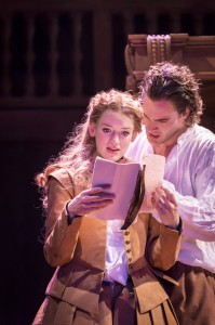 Lucy Briggs-Owen and Tom Bateman in Shakespeare In Love.