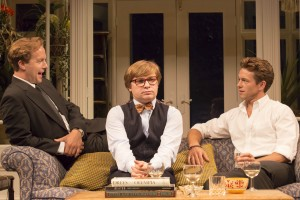 Geoffrey Streatfeild, Jonathan Broadbent and Julian Ovenden in My Night With Reg. Photos by Johan Persson.