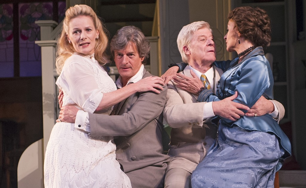Christine Kavanagh, Nigel Havers, Martin Jarvis  Cherie Lunghi in The Importance Of Being Earnest. Photos by  Tristram Kenton.