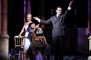 Evita at the Dominion Theatre London until 1 Nov - Madalena Alberto as Eva,  Marti Pellow as Che and Ben Forster as Agustin Magaldi - photographer credit Darren Bell