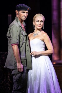 Evita at the Dominion Theatre London until 1 Nov - Marti Pellow as Che and Madalena Alberto as Eva - photographer credit Darren Bell (2)