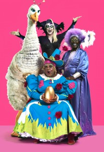 Clive Rowe, Sharon D. Clarke, Susie Mckenna and Priscilla the Goose in Hackney Empire's Mother Goose 22 Nov 2014 -04 Jan 2015. Credit Perou. (2)