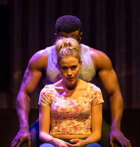 Kirsty Oswald (Desdemona) & Mark Ebulue (Othello) in Frantic Assembly's Othello. Credit Manuel Harlan. 56