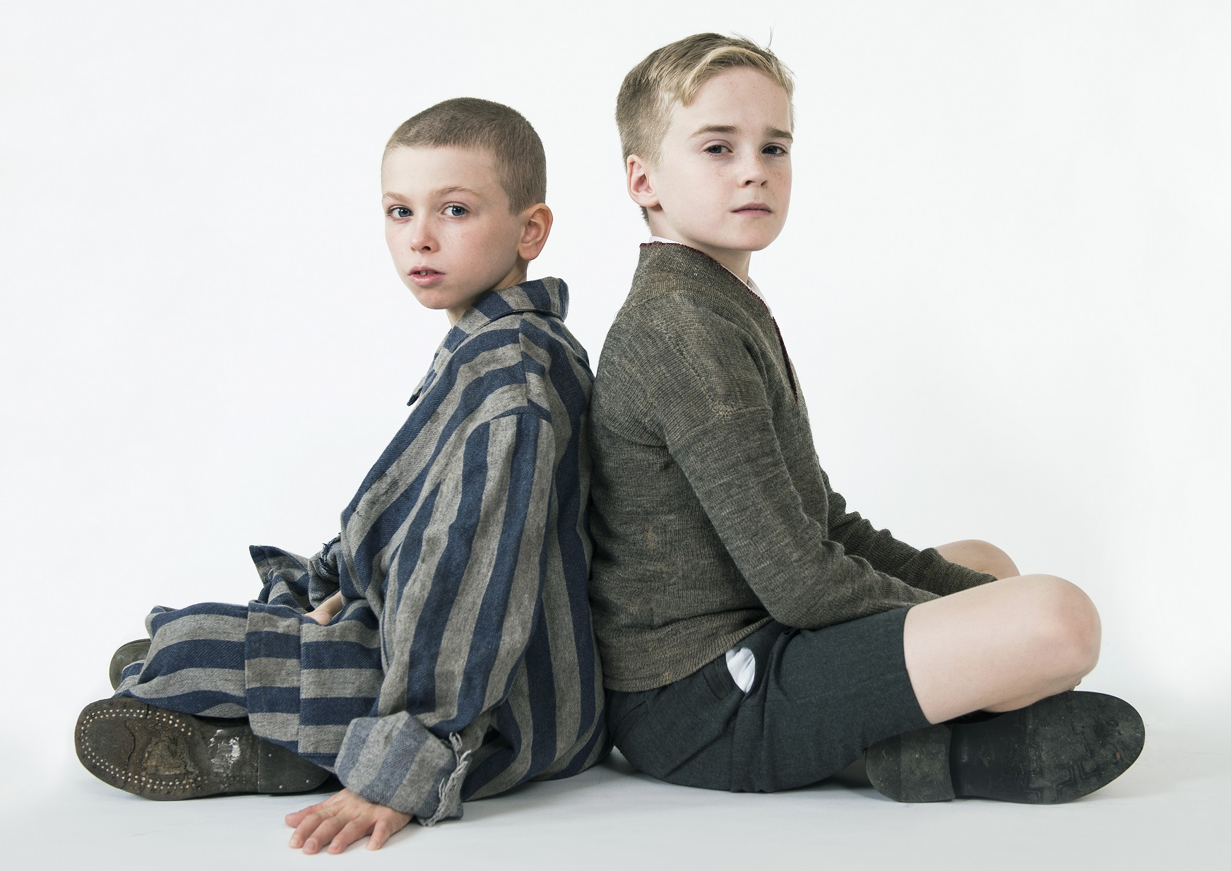 john boyne angus jackson the boy in the striped pyjamas colby mulgrew and finlay wright stephens in the boy in the striped pyjamas photo