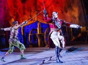 Hiran Abeysekera and David Birrell as Peter Pan and Hook. Photo Tristram Kenton.jpg
