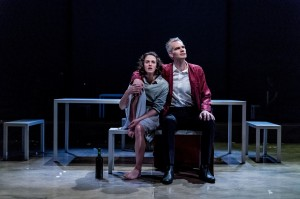Jessica Brown Findlay and Angus Wright in Oresteia. Almeida Theatre. By Manuel Harlan