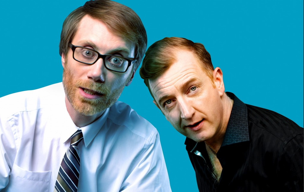 Stephen Merchant and Steffan Rhodri in The Mentalists. Images J.Brooks & Helen Maybanks