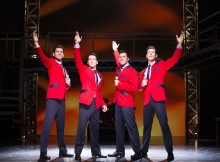 (L-R) Sam Ferriday, Matt Corner, Stephen Webb and Lewis Griffiths in JERSEY BOYS UK and Ireland tour credit Helen Maybanks
