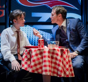 Roaring Trade - Steve Thompson - Park Theatre - 23 September 2015  Director - Alan Cohen Designer - Grant Hicks Costumes - Adrian Gwillym at Academy Costumes Digital Designer - Douglas O'Connell Lighting - Alex Marshall  Donnie - Nick Moran PJ - Michael McKell Jess - Lesley Harcourt Spoon - Timothy George Sandy - Melanie Gutteridge Sean - William Nye