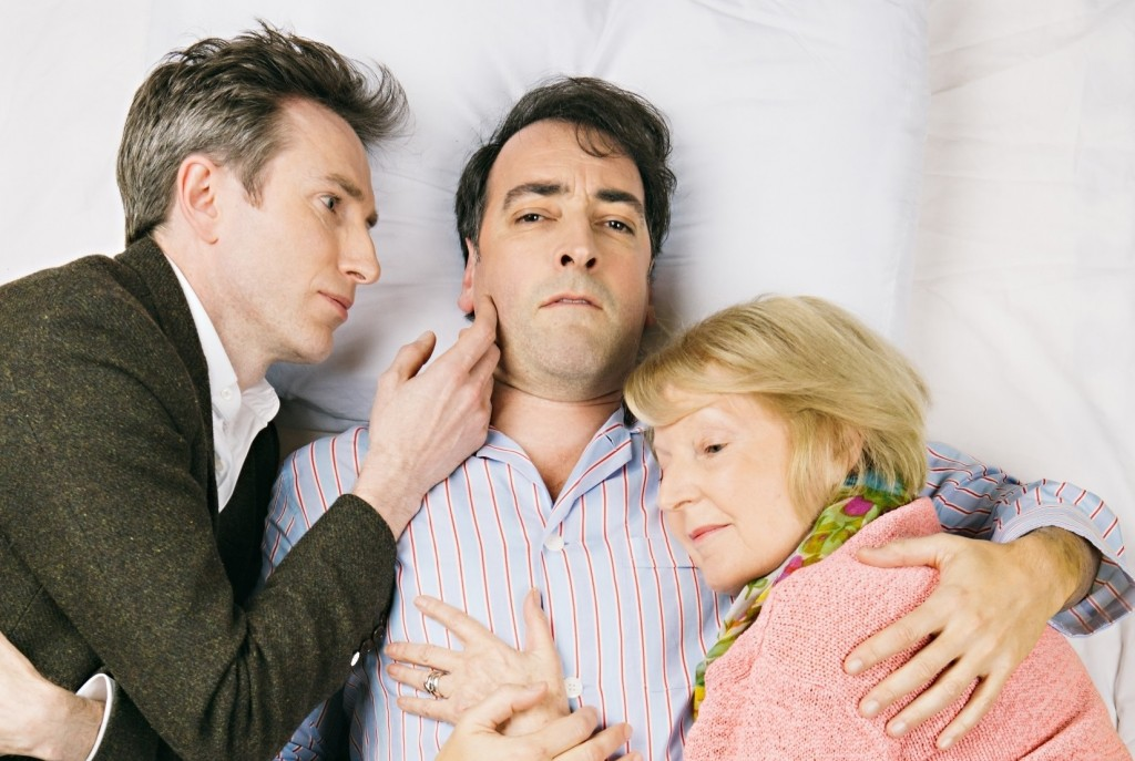 Daniel Weyman, Alistair McGowan, Maggie Ollerenshaw  in 4000 Days. Image Rory Lindsay.