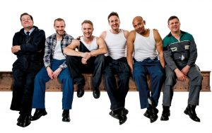 Andrew Dunnac, Joe Absolom, Chris Fountain, Gary Lucy, Louis Emerick, Kai Owen in THE FULL MONTY credit Matt Crockett