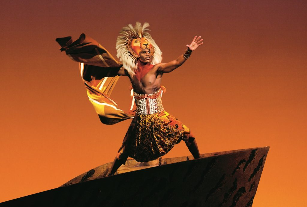 Former Lion King, Andile Gumbi, in Disney's The Lion King. Image  Johan Persson