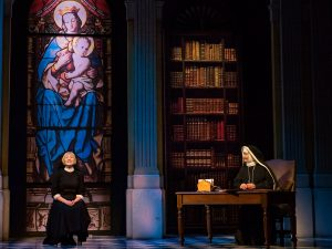The Sound of Music UK Tour - Lucy O'Byrne as Maria and Jan Hartley as Mother Abbess - credit Mark Yeoman