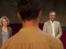 Niamh Cusack, Tom Hughes & Anthony Head in Ticking. Images Bronwen Sharp.